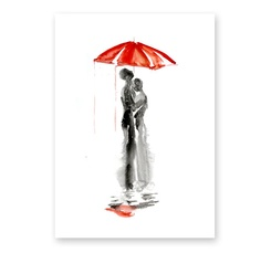 Abstract watercolor painting of Love under the rain by fairysomnia, $65.00