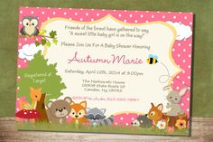 Baby Girl Forest Themed Baby Shower Invitation by RusticElegance18, $18.00