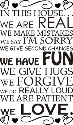 In this house - x - Say Im Sorry, Forgiveness, Vinyl Decals, Surface, Wall Art, Sayings, Fun, House, Lyrics
