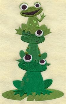 frogs embroidery