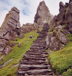 the steps of skellig michael.off the coast of kerry in ireland.it was a hermitage for monks and contains dry stone walls and dry stone beehive huts that are over a thousand years old