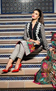 Shirt: Fabric: Embroidered Front, Printed Back with Sleeves, Embroidered Border Shalwar/Trousers: Fabric: Printed Trouser. Dupatta: Fabric: Printed Silk Dupatta.