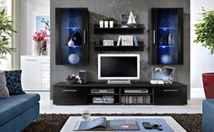 Modern tv wall unit details about 5 white black modern wall unit living room entertainment center Living Room Wall Units, Living Room White, Living Room Sets, Modern Tv Wall Units, Modern Wall, Modern Glass, Modern Living, Media Wall Unit, Tv Wall Cabinets