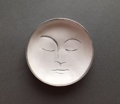 Sleeping Moon Trinket Dish; Handmade in polymer clay, makes an ideal gift for the moon lovers! ($15) #trinketdish #jewelrydish #ringdish