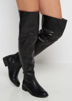 A super hot thigh high boot to turn heads! Made of smooth vegan leather, it features a paneled construction, with a ribbed gore back inset that stretches for the perfect fit.