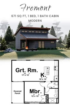 The Fremont, with it's sleek Modern style, is a perfect cabin for a family vacation. The covered porch leads you into a large great room that flows into a large open kitchen that includes an island and breakfast bar. Steel Frame House, Small House Floor Plans, Energy Efficient Homes, Roof Plan, Tiny Spaces, Garage Plans, Cabin Plans, Great Rooms, Building A House