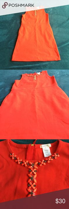 Coral/red dress with neck detail Never worn coral/red dress. Has pockets!! Crewcuts Dresses