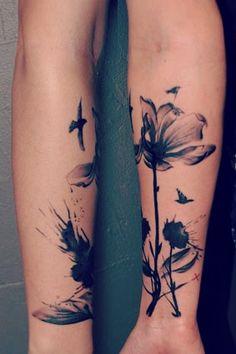 Pretty Tattoo #watercolor #flowertattoo