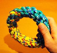 Blog with DIY things for pets. This one has links for rope toys, a later post has links for crocheted frisbees.