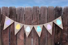 Easter Burlap Banner, Easter Egg, Easter Garland, Photography Prop by Fancy Flamingo