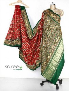 Maroon and Green Gaji Silk Gharchola Saree with Zari and Resham Work