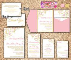 "Blooming Vines ""Finola"" Wedding Pocketfold Microsoft Word Template   Pink Rose Quartz Gold Leaf   Invitation, RSVP, 2 Insert, Thank You Card by PaintTheDayDesigns, $38.75"
