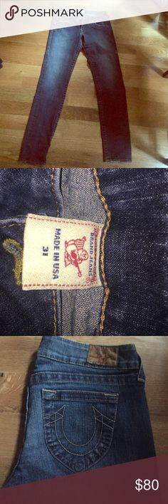 True Religion Straight Jeans sz 31 Authentic True Religion Straight Leg Jeans. Size 31. Never altered or hemmed. Excellent condition. Two percent stretch. Open to offers! True Religion Jeans Straight Leg