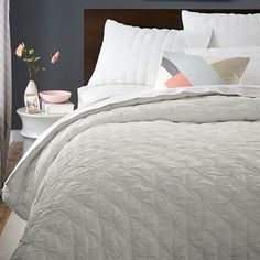 Pintuck Quilt + Shams | west elm - 100% cotton, made in India :: $200 for full/queen in Frost Gray and $25 per sham