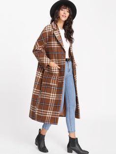 Online shopping for Notch Collar Checked Longline Outer from a great selection of women's fashion clothing & more at MakeMeChic. 70s Outfits, Winter Fashion Outfits, Cute Casual Outfits, Look Fashion, 90s Fashion, Fall Outfits, Girl Fashion, Fashion Design, Indian Designer Outfits