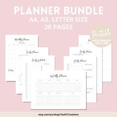 Printable Weekly Planner , Weekly Schedule, Weekly Agenda, Minimalist Planner Template, Planner Download, To Do List, Planner Bundle