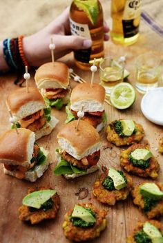 Mexican Fish Sliders with Smoked Paprika Mayo, Corn & Prawn Fritters with Coriander Lime Pesto #seafood #sliders #recipe