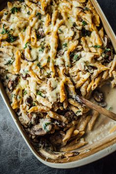 Healthy Mushroom Alfredo Pasta Bake from Pinch of Yum
