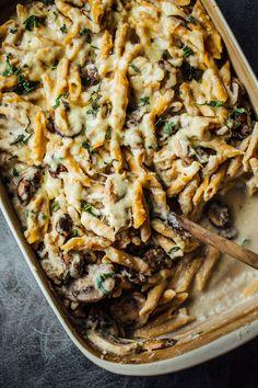 Healthy Mushroom Alfredo Pasta Bake from Pinch of Yum