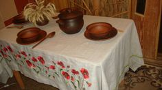 Tablecloth  Ethno  gray linen tablecloth with by SteelWoodStoneSWS