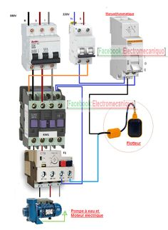 Schéma de câblage d'un moteur électrique et une pompe à eau