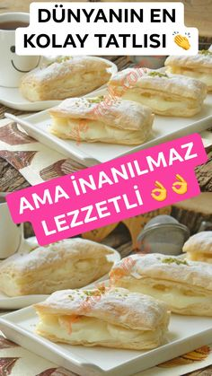Puff Pastry Desserts, Sweet Desserts, Delicious Desserts, Dessert Recipes, Yummy Food, Bread And Pastries, Turkish Recipes, Food And Drink, Tasty