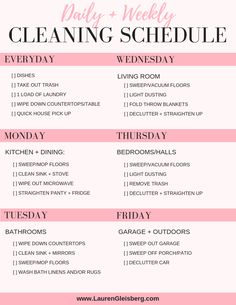 Daily house cleaning schedule + checklist bedroom cleaning checklist for kids Weekly House Cleaning, Household Cleaning Schedule, Chore Schedule, Weekly Cleaning Checklist, Clean House Schedule, House Cleaning Tips, Spring Cleaning, Cleaning Hacks, Cleaning Routines