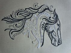 Inspiration for quilling  Quilt Block - Embroidered Great Majestic Horse Head. $14.50, via Etsy.