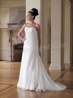 Chiffon Softly Curved Neckline Asymmetrically Ruched Bodice A-line Wedding Dress