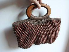 Woven bag, Beaded bag, Vintage woven bag, Vintage beaded bag, Beaded purse, Vintage purse, Vintage Wooden beaded bag, Summer bag, Boho bag