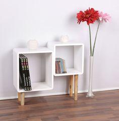 Lounge Regal Design Retro 70er Cube Wohnzimmer Standregal Holzfüße In Weiß:  Amazon.de: