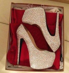Gorgeous White Coppy Leather Amazing Rhinestone Platform High Heel Shoes From The Plus Size Fashion Community At www.VintageAndCurvy.com #shoeshighheelsunique