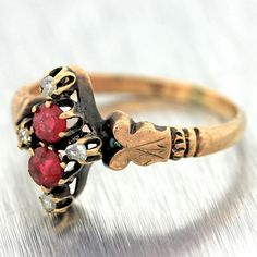 1860s Antique Victorian Solid 9k Rose Gold Ruby and Diamond Ring #Unbranded #Cocktail #victorian #rose #gold #ruby #diamond #ring