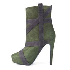 Shoespie Nubuck Ribbon Appliqued Platform Fashion Booties