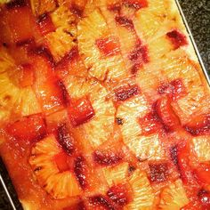 Tonight's baking experiment - #glutenfree Pineapple & Plum Upside Down Cake! Hope it tastes as good as it looks. Made with fresh roasted pineapple, two types of plums, brown sugar and @bobsredmill #gf all-purpose flour (the bean blend) using the blueberry muffin batter from the blog.