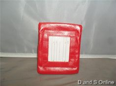 I.D. BADGE HOLDER RED FRONT ID SLOT DOUBLE ZIPPER REAR