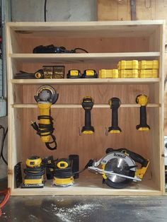My dewalt storage Diy Garage Storage, Shed Storage, Garage Organization, Dewalt Power Tools, Cordless Power Tools, Dewalt Storage, Power Tool Storage, Ultimate Garage, Garage Makeover