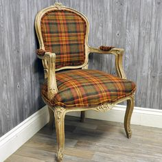 Antique Wood Finish Country Style Louis Arm Chair with Orange & Red Plaid Wool Fabric