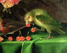 Still Life of Fruit and Flowers, detail of a Parrot by Jan Davidsz. de Heem