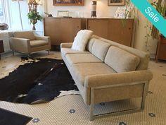 #Vintage #MidCenturyModern #ChromeBaseSofa & Chair Set In The Manner Of #MiloBaughman -Click On Link For All Info Mid Century Modern Furniture, Midcentury Modern, Sofa, Couch, Chrome, Chair, Link, Vintage, Inspiration