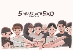 Fanart from duckhymne Exo Wallpaper Hd, Wallpapers, Exo Group Photo, Exo Cartoon, Exo For Life, Chibi, 5 Years With Exo, Exo Red Velvet, Exo Anime