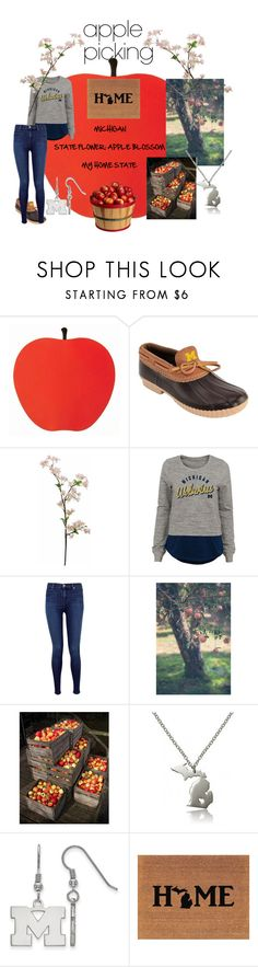 """""FROM HONEY CRISP TO MACINTOSH, YOU'LL FIND THEM IN MICHIGAN"" #🍎applepicking"" by lensesrmything ❤ liked on Polyvore featuring J Brand and LogoArt"