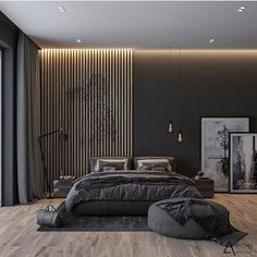 Y U V A I N T E R I O R S on What do you think of this dark bedroom design Designed and visualized By archirendertr Just in love Tell me what do you think Modern Master Bedroom, Contemporary Bedroom, Minimalist Bedroom, Home Bedroom, Bedroom Furniture, Bedroom Black, Minimalist Style, Bedroom Sets, Contemporary Design