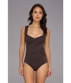 519b115a98487 BADGLEY MISCHKA Solids Wide Strap Draped Front Maillot. #badgleymischka  #cloth #swimwear Badgley