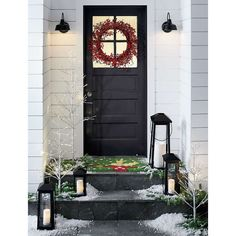This pretty red berry wreath from Crate & Barrel is perfect for adding a pop of red color to a neutral exterior for some holiday curb appeal #ad #crateandbarrel #berries #christmas #wreath Small Porch Decorating, Decorating Ideas, Decor Ideas, Christmas Porch, Xmas, Christmas Vacation, Outdoor Christmas, White Christmas, Vintage Christmas