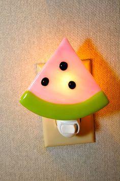 Handmade Pink Watermelon with Seeds Night Light. A glass fused watermelon night light. Watermelon Crafts, Cute Watermelon, Stained Glass Lamps, Fused Glass, Cute Night Lights, National Watermelon Day, Nightlights, Room Themes, Glass Art