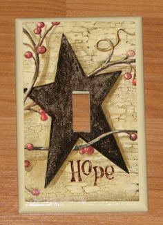 One Single Black Star Hope Switch plate cover. Primitive Stars, Primitive Homes, Primitive Country, Primitive Crafts, Country Crafts, Country Decor, Country Art, Farmhouse Decor, Switch Plate Covers