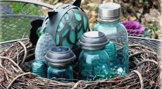 """Fun, easy and beautiful... …solar lanterns for outdoor Winter tables. Complete tutorial!  Jeanne Sammons says, """"Here are my Mason jars that I leave out"""