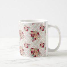 Flowers Pattern Coffee Mug - spring wedding diy marriage customize personalize couple idea individuel