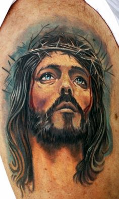 Jesus Tattoos - Tons of Jesus Tattoo Designs & Ideas - Tattoo Me Now Jesus Tattoo On Arm, Jesus Tattoo Sleeve, Jesus Tattoo Design, Christ Tattoo, Angel Tattoo Designs, Tattoo Sleeve Designs, Sleeve Tattoos, Holy Tattoos, Life Tattoos